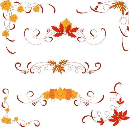 different autumn design elements and corners Vector