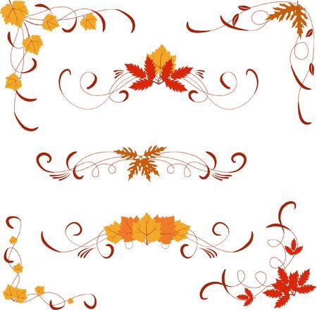 el otoño de diferentes elementos de diseño y esquinas