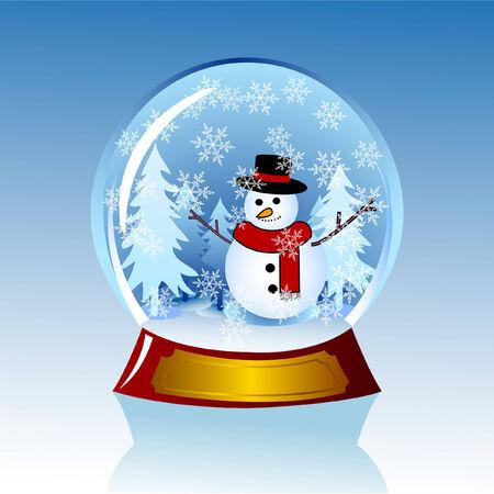 een sneeuwbol met sneeuwpop binnen Stock Illustratie