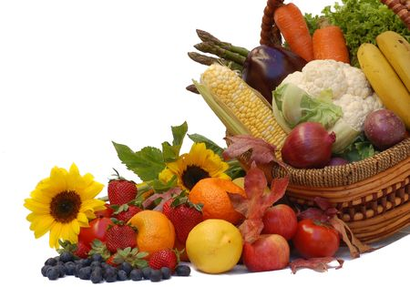 fruits in a basket:  harvest- fresh fruits and vegetables in a basket