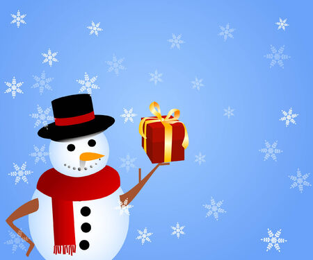 a snowman holding out  a gift with snowflakes falling Vector