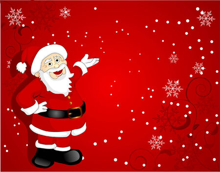 santa clause over red background