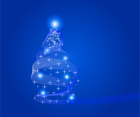 abstract christmas tree over blue