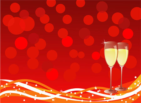 christmasnew year celebration concept- wineglasses over blurry lights in the background