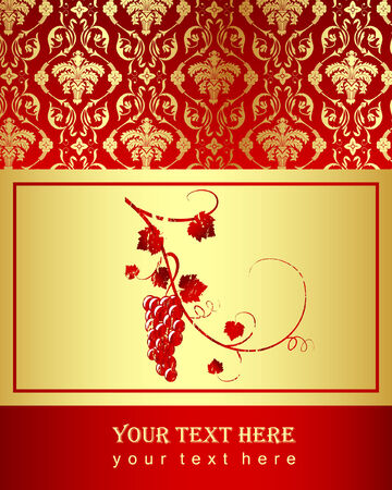 an illustration with decorative pattern and grapecine Vector