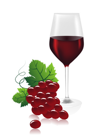 a wine glass with red wine and grapes