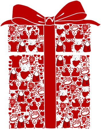 a stylized gift box with various valentine gift ideas Stock Vector - 4139473
