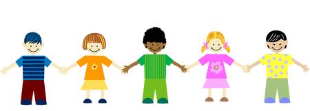 ni�os de diferentes razas: la unidad en la diversidad-los ni�os de diferentes razas mano Vectores