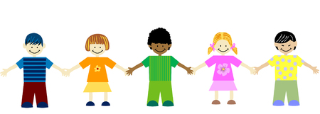 asian friends: unity in diversity- children of different races holding hands Illustration