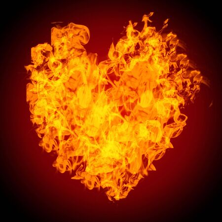 conceptual image of an heart on fire
