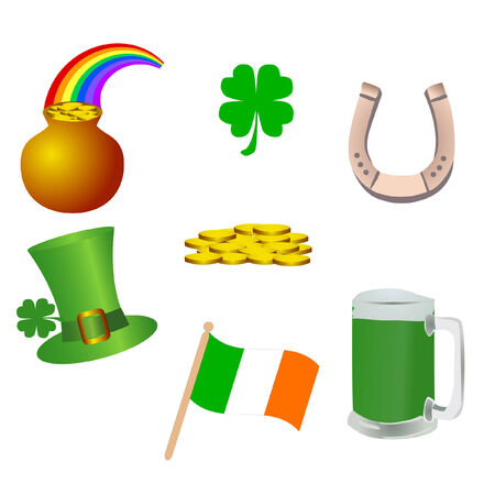 a set of st, patricks day icons Vector
