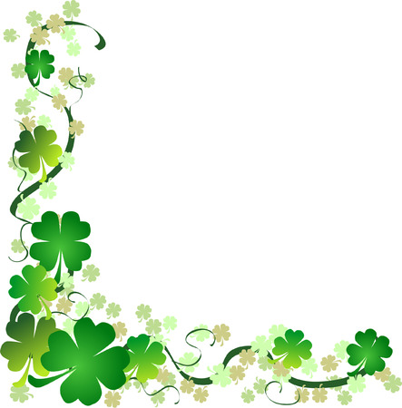 a st. patrick's day background with four leaf clovers Stock Vector - 4245458