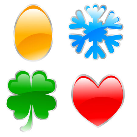 glossy holiday icons made using only simple gradients Stock Vector - 4307112