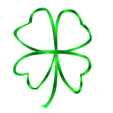 a four leaf clover made with a ribbon Vector