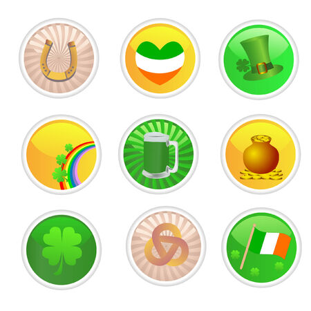a set of saint patricks day buttons Vector