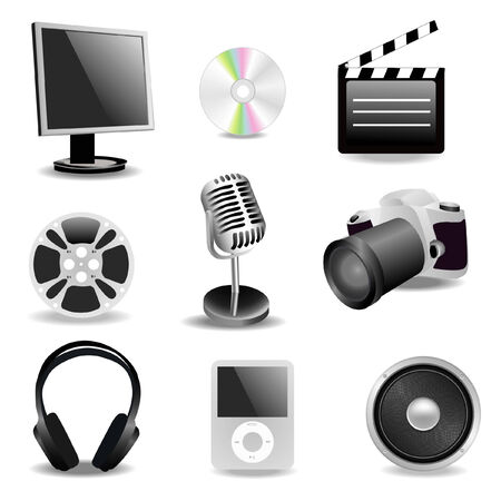 a set of multimedia icons Stock Vector - 4464964