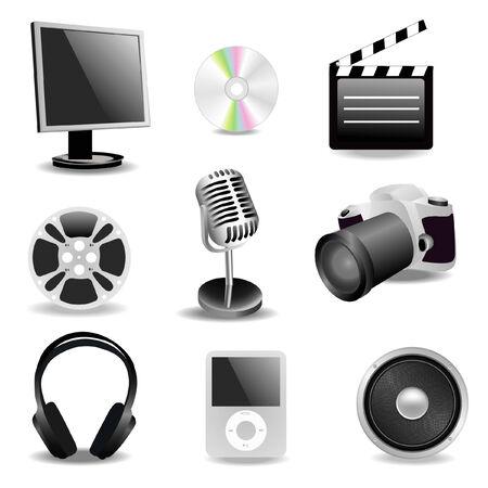 Una serie di icone multimediali Archivio Fotografico - 4464964