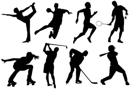 a set of sports silhouetttes