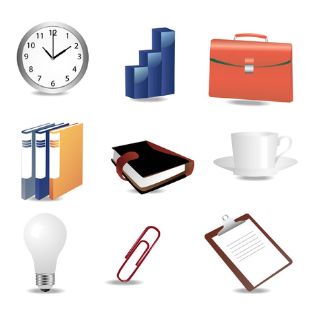 a set of office and business icons Vector