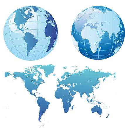 wereldkaart en globes