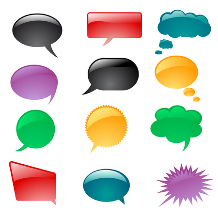 a set of colorful thought or speech bubbles Vector