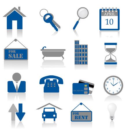 un conjunto de iconos de bienes raíces