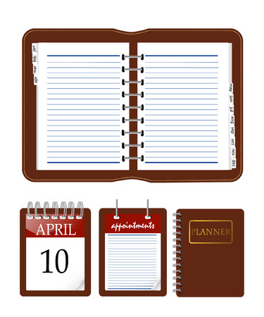 tabbed folder: an illustration of calender and notebook