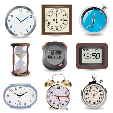 clocks, hourglass, compass and stopwatch- time concept Vector