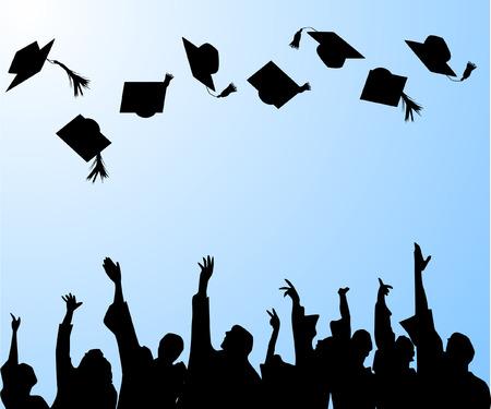 graduation hat: hat tossing ceremony at graduation