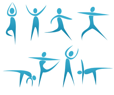 positions: abstract silhouettes with fitness concept