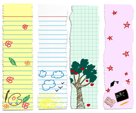 elementary: a set of back to schoolgraduation banners- childish doodles on pieces of paper