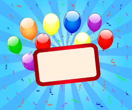 a banner for text with balloons and confetti Vector