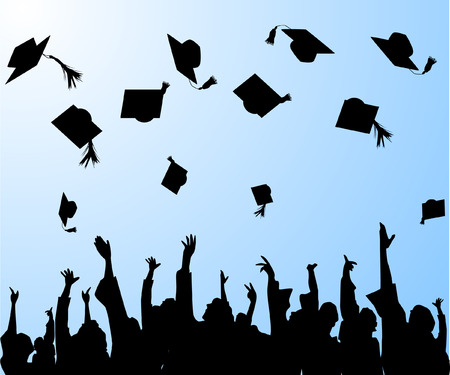 graduation- graduates tossing the mortar boards in the air Stock Vector - 5222260