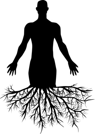 god in heaven: mans silhouette with roots Illustration
