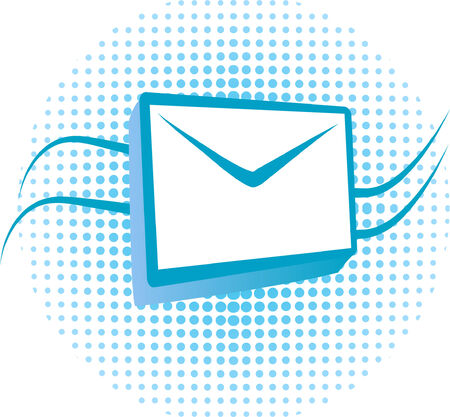 an e-mail icon- envelope and halftone pattern Vector