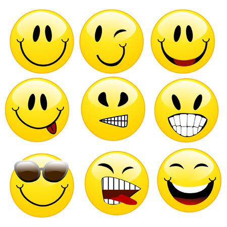een reeks van smileys Stock Illustratie