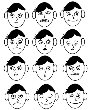 gezicht van een man met verschillende expressies