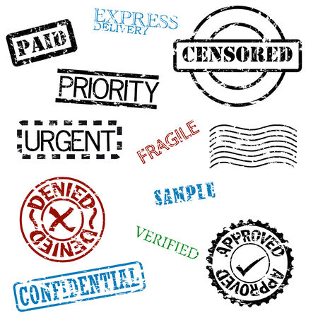a set of rubber stamps Vector