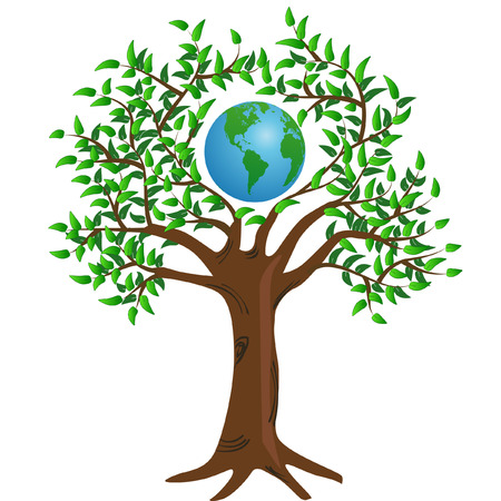 Conceptual image d'un globe entouré de branches d'arbres Banque d'images - 5359166