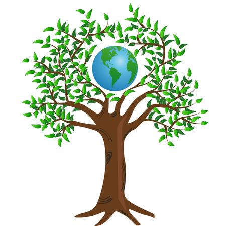 La imagen conceptual de un globo terráqueo rodeado de ramas de los árboles Foto de archivo - 5359166