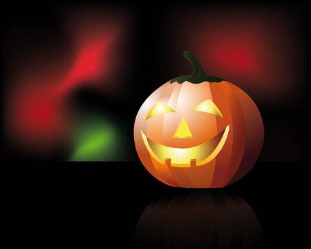carved pumpkin: an illustration of a carved pumpkin over colorful mesh background