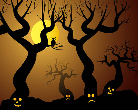 hollows: halloween illustration with spooky trees Illustration