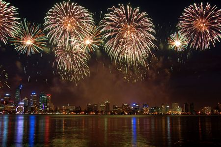 perth: fireworks over the city and river