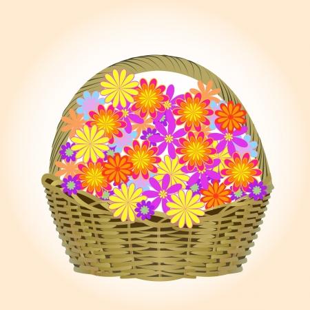 Een mand met bloemen Stockfoto - 18968309