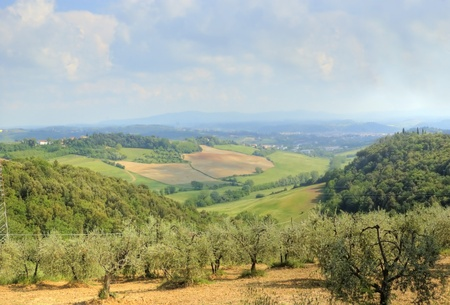 a view of Tuscany countryside