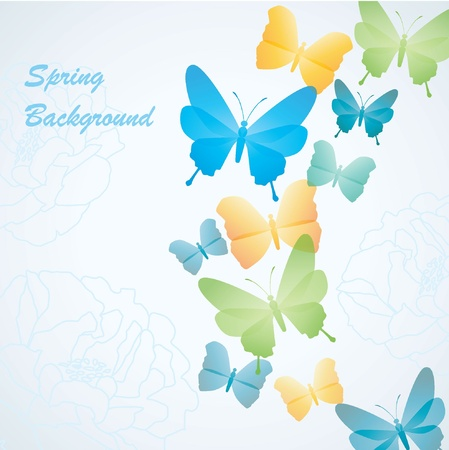 spring background with butterflies Illustration