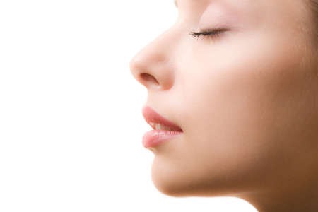 Profile of feminine face with closed eyes and make-up Stock Photo - 4122014