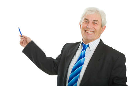 The cheerful businessman with a pen in a hand photo