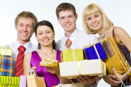 Happy friends give you gifts  photo