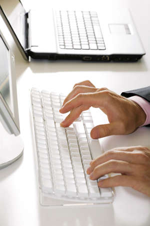 Vertical image of human hands doing some computer work Stock Photo - 4231217